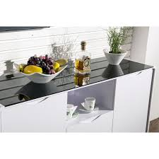 maestro buffet sideboard white high gloss w black glass top
