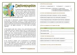 deforestation reading comprehension worksheet free esl