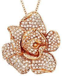 gold flower pendant necklace images Effy collection pav rose by effy diamond flower pendant necklace tif