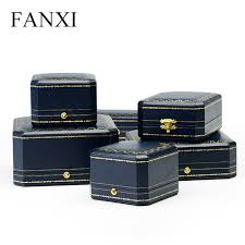leather necklace gift box images Fanxi elegant blue color pu leather gift box ring necklace jpg