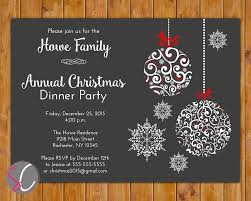 Dinner Party Invitations Annual Christmas Dinner Party Invite Celebration Holiday