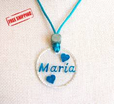 Child Name Necklace Custom Name Necklace Free Shipping Glass Necklace