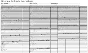 Siding Estimate Template by Estimating Template Kitchen Cost Estimate Worksheet