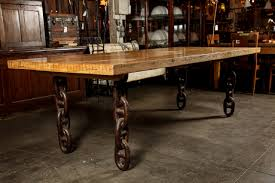 bowling alley lane butcher block table with anchor chain legs