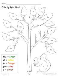 Sight Words Worksheets Printable Fall Themed Color By Sight Words 2 Free Printable Preschool