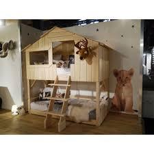 chambre cabane enfant lit cabane enfant superposé tilleul massif brut mathy by bols