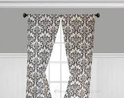 White And Black Damask Curtains Damask Curtains Etsy