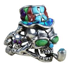 gemstones silver rings images Skull smoking silver ring vy jewelry jpg