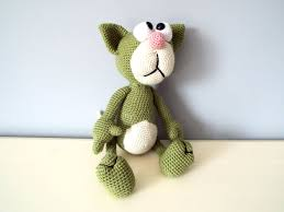 cat home decor crochet cat amigurumi green hand knitted cat gift ideas for kids