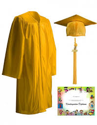 cap gown and tassel kinder package shiny gold cap gown tassel diploma