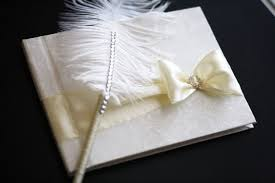 ivory wedding guest book ivory wedding guest book with ostrich feather pen ivory sign in