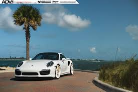white porsche 911 turbo s adv05 m v2 cs series wheels 21x9 5