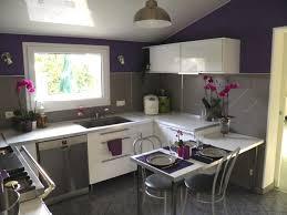 deco cuisine violet photo décoration cuisine gris et violet
