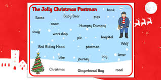 word mat support teaching jolly christmas postman
