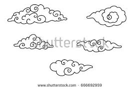 black outline chinese clouds vector download free vector art