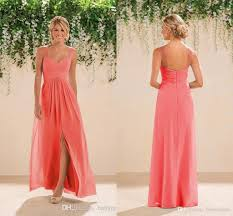 2017 coral country bridesmaids dresses long a line chiffon