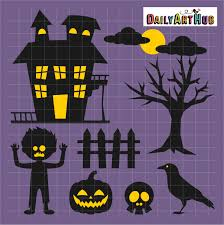 halloween haunted house clip art set daily art hub