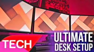 ultimate triple monitor desk setup featured in setup wars youtube