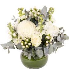 winter white fish bowl arrangement melbourne flowers online