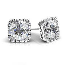 moissanite earrings forever one moissanite cushion halo earrings