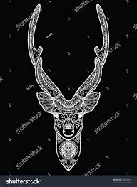 stylized portrait deer forest animals stock vector 479694802