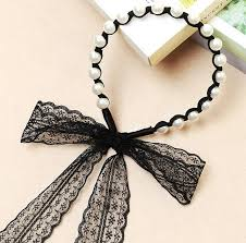 lace accessories 2016 korean school student big girl pearl lace hair clasp sticks