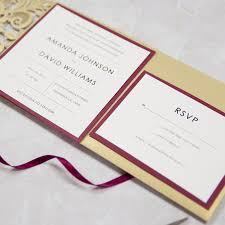 wedding invitation pockets pocket laser cut wedding invites in gold and burgundy colors