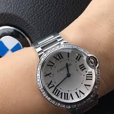 stainless steel cartier bracelet images Cartier jewelry authentic 36mm ballon bleu watch w diamond jpg