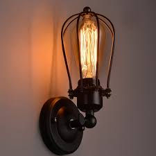 nordic retro wall lamp bedside light wrought iron lamps shade