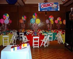 candyland theme table centerpeices the candles are hershey kisses