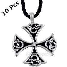 wholesale 10 pcs celtic knot iron cross silver tone