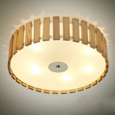 Ceiling Flush Mount by Drum Shaded Wood Battens Designer Flush Mount Ceiling Lights