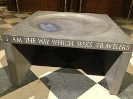Love the quote on the holy water basin Picture of Notre Dame