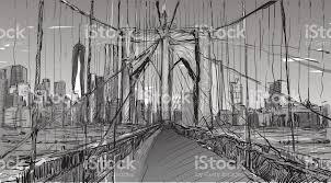 sketch of cityscape in new york show brooklyn bridge and building