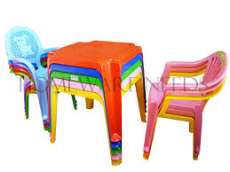 Childrens Kids Plastic Table And Chair Set Includes 4 Chairs