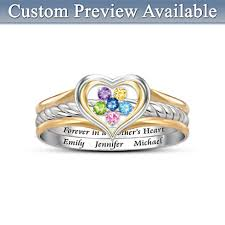 mothers day rings with birthstones forever in a s heart birthstone ring with names heart