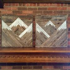 wood mountain wall mountain tops set of 2 reclaimed wood wall by dustysquaredesigns