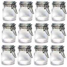 12 x mini glass clip top spice storage jars set kitchen herb