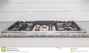 Gas Stainless Steel Cooktop Stainless Steel Cooktop On Granite Countertop Stock Photo Image