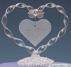 glass wedding cake toppers heart wedding cake topper from sculptured glass ipunya
