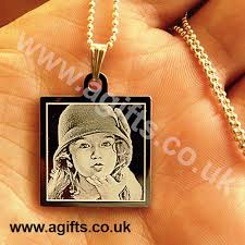 Gold Engraved Necklace Necklace 14k Gold Plated Engraved Photo Pendant
