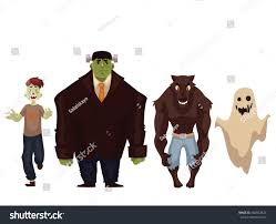 Cartoon Halloween Monsters People Dressed Monster Zombie Werewolf Ghost Stock Vector
