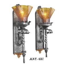 Sconces With Shades Pair Of Tall Gothic Or Medieval Iron Torch Sconces With Amber