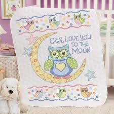 baby by herrschners owl you baby quilt sted cross stitch