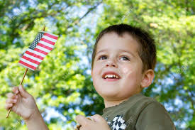 American Flag Watches Portrait Of A Cute Brown Haired Brown Eyed Boy Waving An American