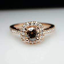 brown diamond engagement ring unique cognac brown diamond engagement ring in 14k gold