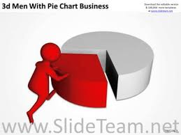 top business people 3d man with pie chart new powerpoint