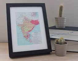 old vintage map of india in 1805 framed office home decor art