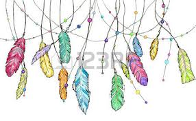 hand drawn sketch feathers of dream catcher set of bright