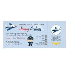 kids airline ticket birthday party invitation zazzle com